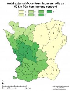 Figur 10: kartan visar antalet skånska externa köpcentrum som ligger inom en radie av 50 km från kommunens centroid (mittpunkt).