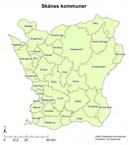 Figur 5: Översiktskarta med Skånes 33 kommuner och kommunnamn.