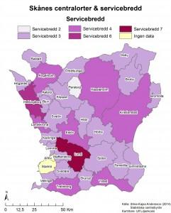 Figur 6: Servicebredd i Skånes olika centralorter. På kartan representeras varje kommun av servicebredden i centralorten. Namnen på kartan anger namnet på centralorten. Broby är centralort i Östra Göinge kommun, och Arlöv är centralort Burlöv kommun (jämför med kartan i figur 5).