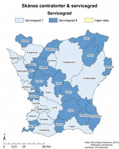 Figur 7: Servicegrad i Skånes olika centralorter. På kartan representeras varje kommun av servicegraden i centralorten. Namnen på kartan anger namnet på centralorten. Broby är centralort i Östra Göinge kommun, och Arlöv är centralort Burlöv kommun (jämför med kartan i figur 5).
