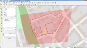 Bakgrundskarta med detaljplanegränser i QGIS.