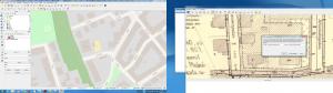 Medhjälp av olika referenspunkter hämtar du koordinater från bakgrundskartan. Byggnadshörn är ofta bra referenspunkter.