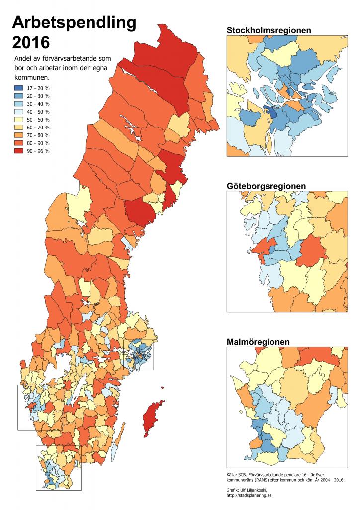 Kartan redovisar hur stor andel, i procent, av de förvärvsarbetande 16+ år som bor och arbetar inom den egna kommunen.
